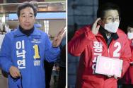 이낙연(왼쪽) 더불어민주당 후보가 제21대 총선 선거운동이 공식적으로 시작된 2일 오전 출마 지역인 서울 종로구 한 마트를 찾아 선거운동을 하고 있다. 오른쪽은 사진은 황교안 미래통합당 후보가 제21대 총선 선거운동이 기작되기 전인 1일 서울 종로구 광화문 광장에서 '나라 살리기 경제 살리기 출정 선언 기자회견'을 하는 모습.