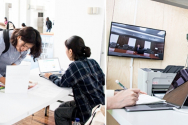 커리어디자인 박람회 마련된 자소서분석기 체험 부스(왼쪽)과 VR을 이용한 AI 면접 체험 서비스