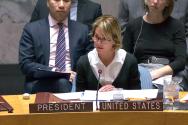 켈리 크래프트 유엔주재 미국대사가 지난 1월 북한 미사일 관련 안보리 회의에서 발언하고 있다.