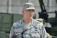 을지프리덤가디언(UFG) 연습 참관 등을 위해 방한한 존 하이튼 전략사령관이 22일 오후 오산공군기지안에 있는 35방공포여단 패트리어트3 미사일 포대 앞에서 내외신 합동기자회견을 하고 있다.
