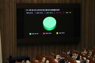 20일 서울 여의도 국회에서 열린 본회의에서 아동·청소년의 성보호에 관한 법률 일부개정법률안(대안)이 통과되고 있다.