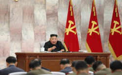 지난 24일 김정은 북한 국무위원장이 노동당 중앙군사위원회 제7기 제4차 확대회의를 통해 발언하고 있다.