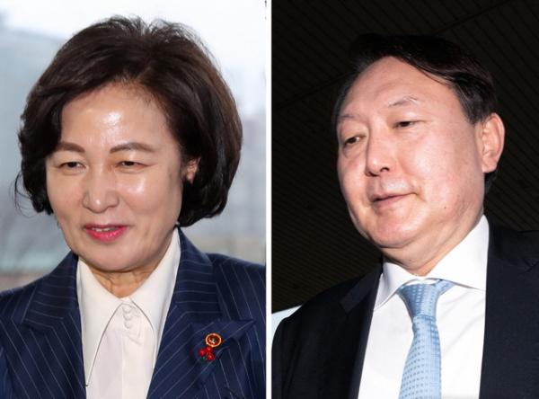 추미애(왼쪽부터) 법무부 장관과 윤석열 검찰총장. ⓒ 뉴시스