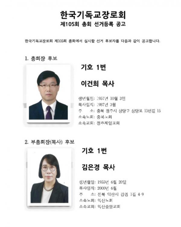 제 105회 한국기독교장로회 총회장·부총회장 선거