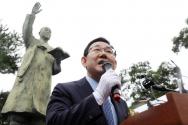 주호영 미래통합당 원내대표가 19일 서울 종로구 이화장에서 열린 이승만 전 대통령 서거 55주기 추모식에 참석해 추모사를 하고 있다.