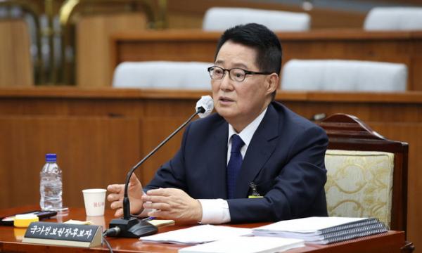 박지원 국가정보원장 후보자가 서울 여의도 국회에서 열린 인사청문회에서 의원 질의에 답하고 있다. ⓒ 뉴시스
