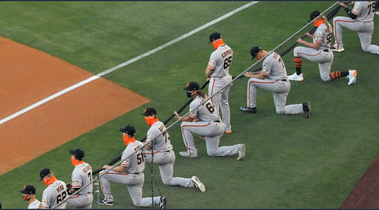 Sam Coonrod and the San Francisco Giants players prior to their season opener.Twitter