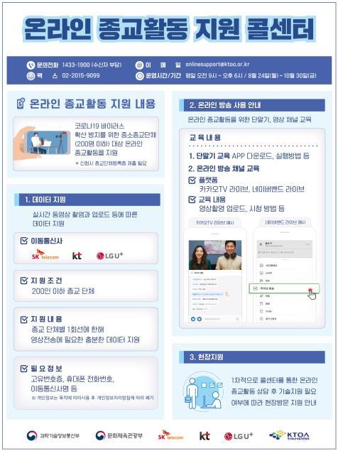 과기정통부, 온라인 종교활동 지원 콜센터