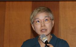 김재련 변호사(법무법인 온세상)가 지난 7월22일 오전 서울의 한 모처에서 열린 '박원순 시장에 의한 성폭력 사건 피해자 지원단체 2차 기자회견'에 참석해 입장을 밝히고 있다. ⓒ 뉴시스