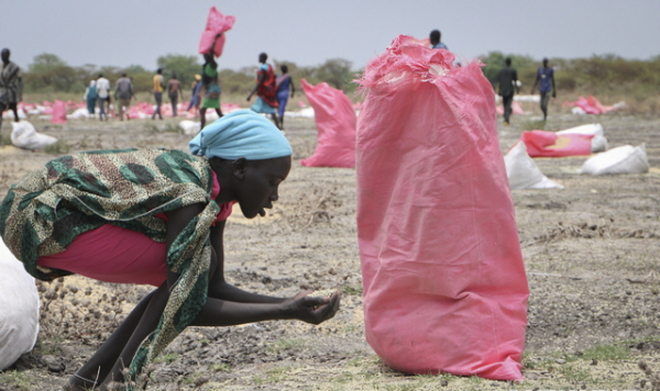 2018년 5월 내전의 남수단에서 한 여성이 WFP가 공중투하한 식량 사탕수수 알갱이를 손으로 쓸어모으고 있다