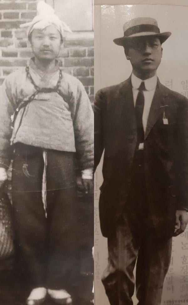 왼쪽은 이승만 박사가 한성감옥 사형수였을 때 모습(1903), 오른쪽은 조지워싱턴대학 졸업무렵(1907)