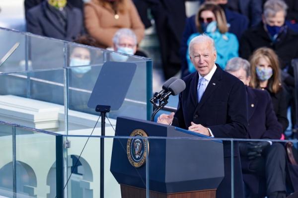 20일 워싱턴 연방의사당에서 열린 취임식에서 조 바이든 미국 대통령이 발언하고 있다.