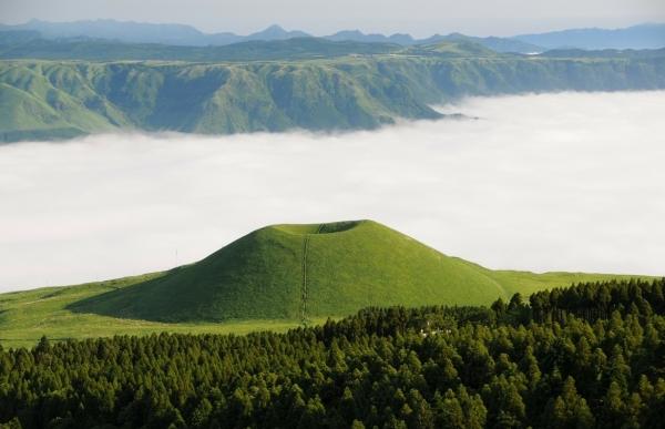 일본 구마모토 외륜 산