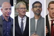 왼쪽부터 제프 베이조스 아마존 최고경영자(CEO), 팀 쿡 애플 CEO, 순다르 피차이 구글 CEO, 마크 저커버그 페이스북 CEO