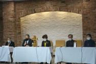 (왼쪽부터)안재웅 이사장(YMCA), 이홍정 총무, 원영희 회장, 신대균 이사(YMCA), 이은영 부회장(YWCA)