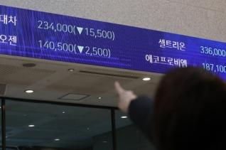 현대차가 애플과 자율주행차량 개발 협의를 진행하고 있지 않다는 소식에 현대·기아차 및 관련주가 급락한 8일 오후 서울 여의도 한국거래소 전광판에 현대차 주가가 표시되고 있다.