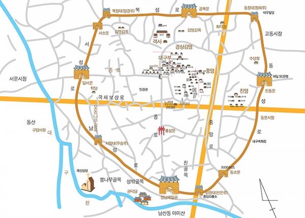 대구읍성 복원 지도