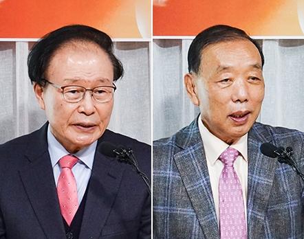 격려사를 전한 조일래 목사(좌)와 송태섭 목사(우)