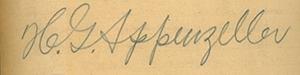 아펜젤러 남부순행 일기 영인본 원본에 있는 친필로 쓴 이름