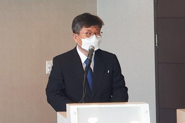 강대흥 사무총장이 취임사를 전하고 있다.