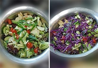 필자의 실제 점심식사. 살아 있는 생야채 위주의 식단이다.