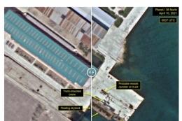 북한 신포조선소 미사일 발사통 등장.