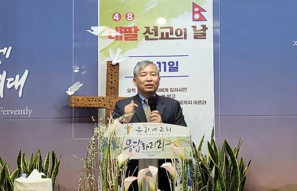 구리 우리네교회에서 김한성 교수가 네팔 선교를 도전하는 설교를 전했다.