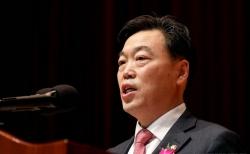김오수 법무부 차관이 지난해 1월13일 오후 경기 고양 사법연수원에서 열린 사법연수원이 제49기 연수생 수료식에 참석해 축사를 하고 있다.
