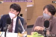 이준석 국민의힘 신임당대표(왼쪽)가 KBS1Radio 열린토론에 출연해 권수정 정의당 대변인(오른쪽)이 던진 차별금지법과 관련한 질문에 답하고 있다.