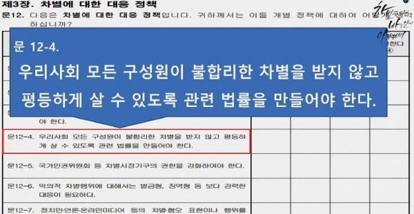 국가인권위원회 리얼미터 차별국민의식 조사 질문안