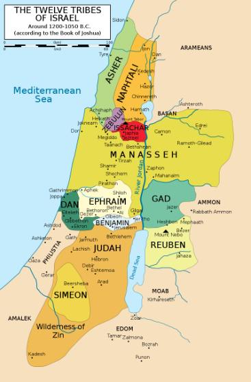 이스라엘의 초기 지파들 분포도