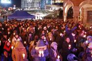 탈북동포 위해 촛불 손에 든 통일광장 기도회