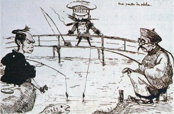 세 나라가 각축을 벌인 당시 한반도 상황을 그린 죠르쥬 비고의 풍자화(1889년)