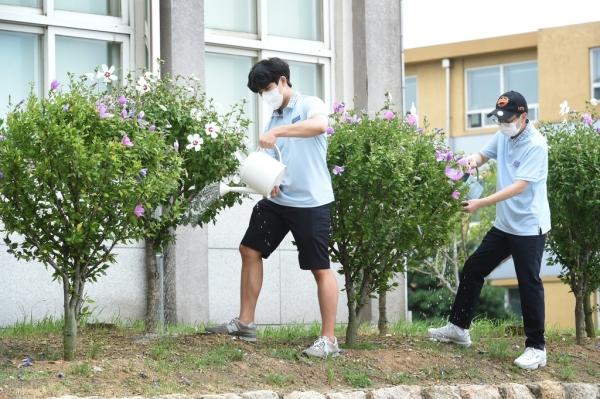 서울 오산고 학생들이 무궁화를 돌보고 있다.