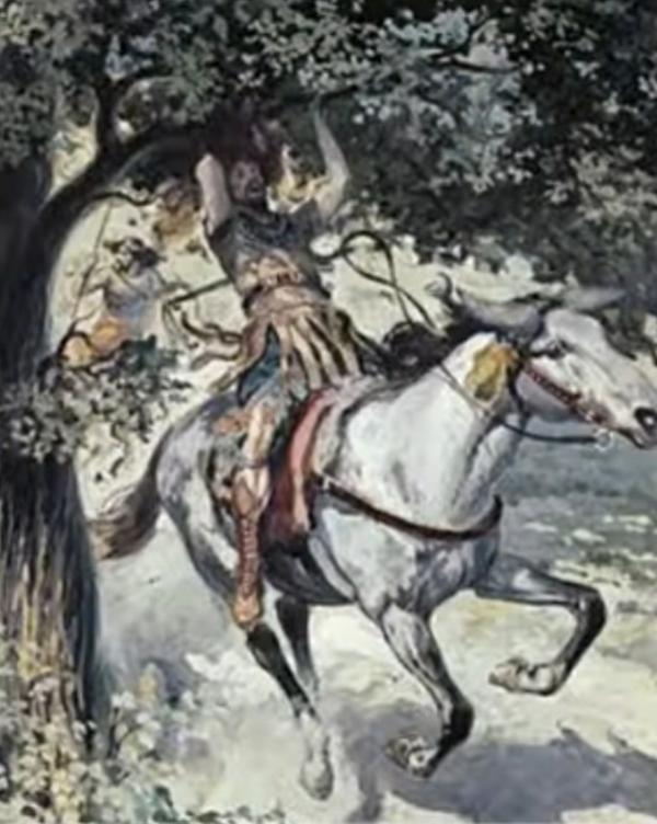 다윗과의 전쟁에서 패퇴하다 머리카락이 나무에 엉켜 죽임 당한 압살롬