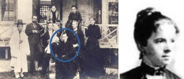 1880년대에 조선에 들어와 여성들에게 성경을 가르친 해리엇 깁슨(파란색 원) 선교사와 엘러즈 선교사