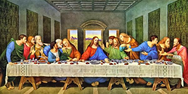 레오나르도 다빈치가 그린 최후의 만찬. 가운데 앉은 인물이 예수다.