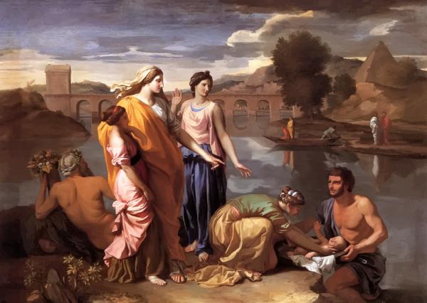 아기 모세를 나일강가에서 건져올리고 있는 바로의 딸