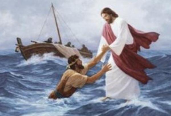 물에 빠진 베드로를 건져올리시는 예수