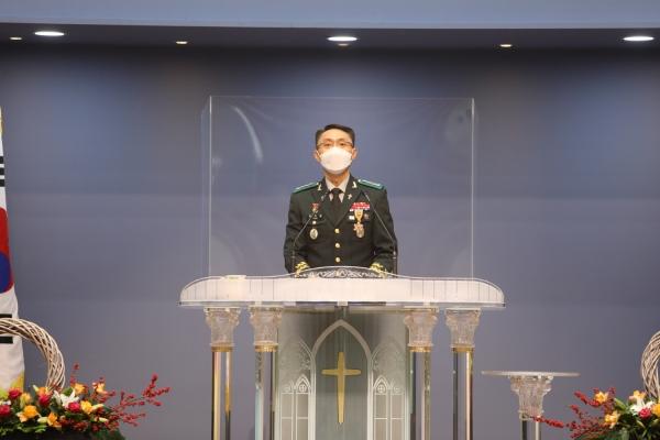 육군군종목사단장 최석환 목사가 비전2030실천운동을 소개하고 있다.