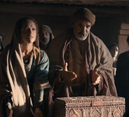 아나니아(역할, 우)와 삽비라(역할, 좌)는 재물을 훔치고 거짓말 하다 즉각 심판 받았다